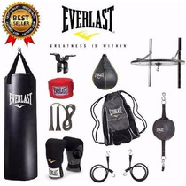 Kit Guantes Pera Vendas Cuerda Costal Everlast Box Mma Ufc