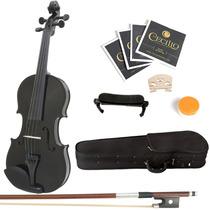 Violin Mendini 4/4 Black Con Accesorios Hm4