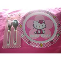 Hello Kitty Plato, Tenedor, Cuchillo Cubiertos 100% Original