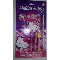 Set De Papeleria Con Marcadores Hello Kitty Utiles Escolares