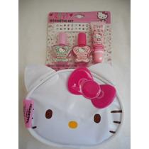 Set Cosmetico Hello Kitty! Pintura Uñas, Lipgloss, Bolsita