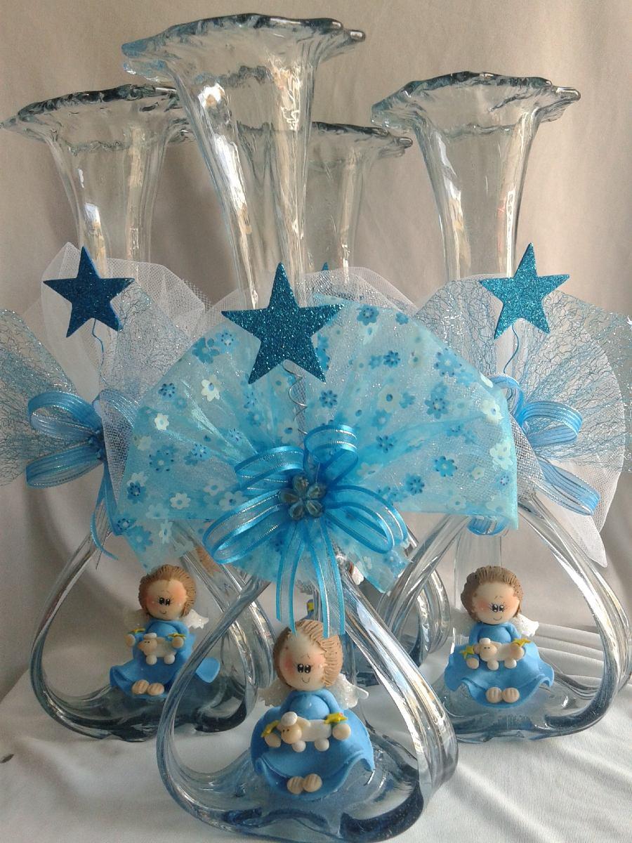 Hermoso centro de mesa bautizo florero vidrio soplado - Centro de mesa de cristal ...