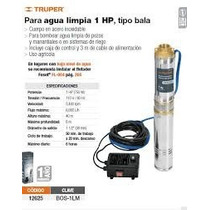Bomba Sumergible Agua Limpia 1 Hp Tipo Bala Truper 12625