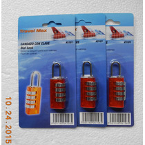 Candado De Combinación P/maleta Juego De 3 Pzas. Travel Max