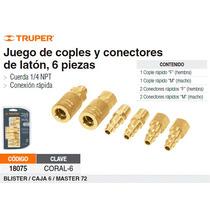 Juego De Coples Y Conectores Rapidos De Laton 6 Pzas