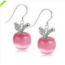 Brinco De Cristal Em Forma De Maçã Rosa