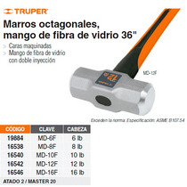 Marro Octagonal 16 Lbs Mango Fibra De Vidrio