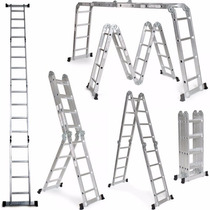 Escalera Plegable De Aluminio 8 Posiciones Plegable 3,70mts