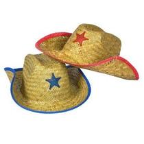 Childs Paja Sombrero De Vaquero Con Plástico Star (1 Docena)