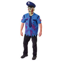 Zombie Costume - Uniform Cop Adulto Y Máscara De Halloween