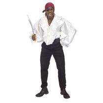 Traje Pirata - Con Volantes De Satén Camisa Std Hombre Blan