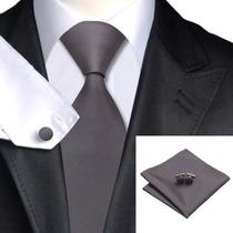 Set Corbata Gris, Mancuernillas Y Pañuelo 100% Seda.