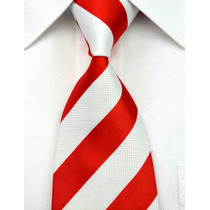 T15 Corbata Roja Con Blanco - Jaquard Woven - Seda Tejida