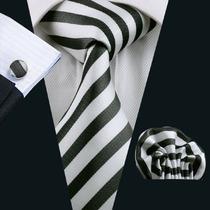 Set320 Corbata+pañuelo+mancuernillas - Blanco Negro