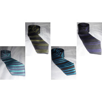 Corbatas Slim Fit Diseños A Rayas Texturizadas, Jacquard
