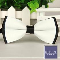 Corbata De Moño - Bow Tie Blanco Con Negro