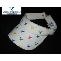 Gorra American Eagle Cachucha Ajustable Blanca Visera Logos