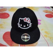 Gorra Plana Negra Hello Kitty Nva Etiquetada P/niña T/6