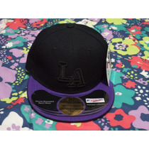 Gorra Negra C/morado Los Angeles New Power 7 1/8 Nueva