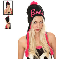 Hot Topic Gorro Barbie Logo Black Pink Lurex Peruvian Beanie