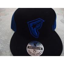 Gorra Negra C/azul Famous Star And Straps Original 71/8