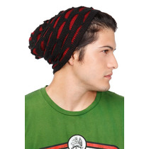 Hot Topic Gorro Black And Red Shredded Slouch Beanie