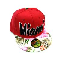 Gorra Snapback Miami Flores Visera Plana Broche Ajustable