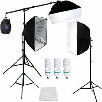 Kit Estudio Fotográfico Softbox Con Boom Stand Fotografia