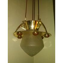 Antigua Lámpara Art Deco En Bronce, Latón Y Ámbar