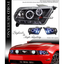 Faros Proyectores Negros Ford Mustang 2010 - 2014 V6 V8 Gt