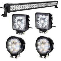 Kit 2 Faros Led 27w + Barra Led 180w Jeeps Moto 4x4 Off Road