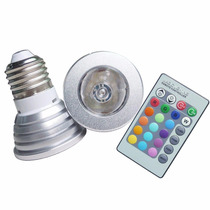 Foco Led Rgb 16 Colores 3w Base E27 Control Remoto