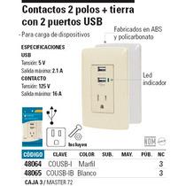 Contacto 2 Polos Más Tierra Con 2 Puertos Usb, Color Marfil.