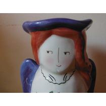 Portavela Precioso Angel Pintado A Mano Retro Vintage