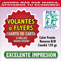Millar Volantes Flyers Flayer Todo Color 1/4 Carta Imprenta