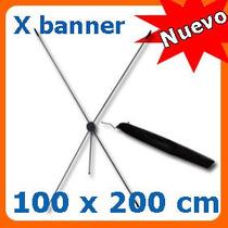 Display X Banner De Aluminio 1x2mts Para Lona Impresa Maa