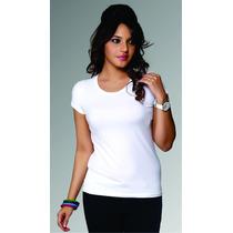 Blusa Sublimable Blanca Tacto Algodón Dama Cuello Redondo 5p