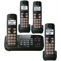 Telefono Panasonic 4 Auriculares Marcacion En La Base Negro