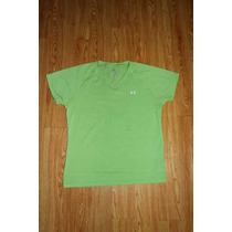Blusa Under Armour Verde Limon Cuello V Talla Md Para Dama