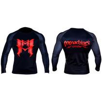 Rash Mmachines Bk Red Logo Long Sleeve Mma Bjj Nogi Talla Xl