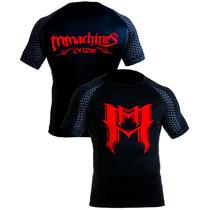 Rashguard Mmachines Logo M Red Short Sleeve Mma Bjj Talla S