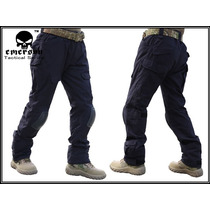 Negro Azul Militar Tactico Pantalon Rodilleras Uniforme