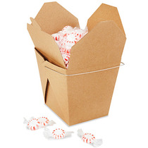 Paquete De 50 Cajas Kraft Para Comida China Con Asa 64oz