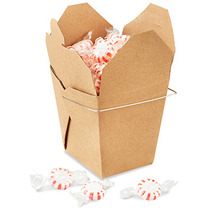 Paquete De 100 Cajas Kraft Para Comida China Con Asa 26oz