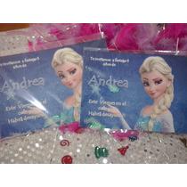 16 Invitaciones Elsa Frozen Con Confetti Metalico