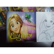 12 Invitaciones Rapunzel Cuento Para Coloreal Y Crayolas