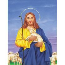 Jesús El Buen Pastor Que Sostiene Un Cordero Bandera Verde