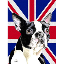 Boston Terrier Con Inglés Union Jack Británica Bandera De