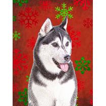 Los Copos De Nieve Rojos Vacaciones De Navidad Del Malamute