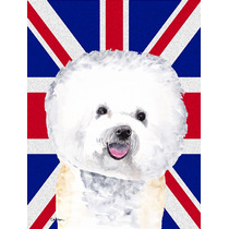 Bichon Frise Con Inglés Union Jack Británica Bandera De La